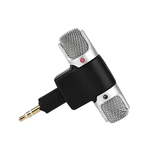 (Yuehuam Mini Portable Digital Stereo Microphone Recorder, Mini Stereo Microphone Mic 3.5mm Gold-Plating Plug Jack for PC Laptop MD Camera)