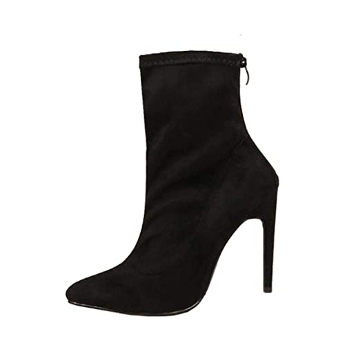 66c4405a844a2 Womens Winter Boots | Thin High Heels Ankle Booties Back Zipper ...