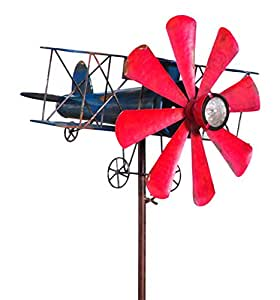 Biplane With Solar Light Metal Wind Spinner Amazon Ca