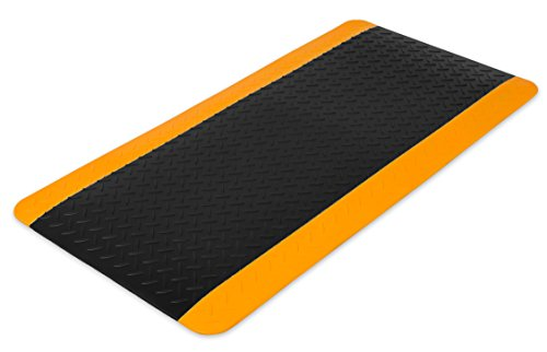 Internet's Best Anti Fatigue Comfort Mat | Cushioned Non-Slip Workshop Garage Office Standing Desk Mat | Ergonomic Floor Mat for Market Booths | Waterproof | 38.75 x 19.75 inches | Black (Non Cushioned Slip)