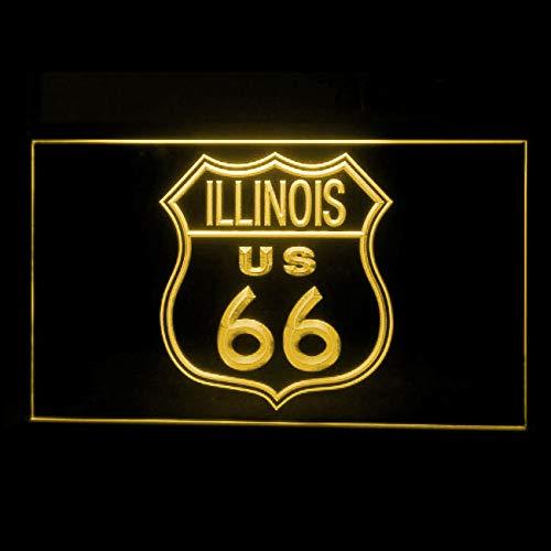 120161 Route 66 US Illinois Main Street Highway Display LED Light Sign