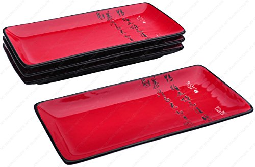 M.V. Trading MFJX941AS4V Long Sushi Serving Plate with Calligraphy Peom Character, Red, 10.25 Inches (L) x 4.75 Inches (W) x 1.00 Inches (H), Set of 4 Pieces