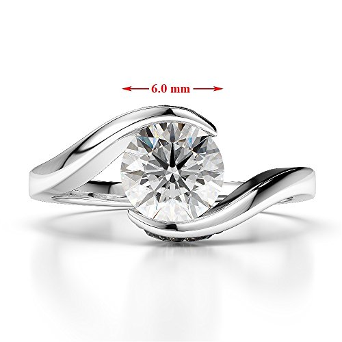 Or Rose 18 carats 0,76 ct G-H/VS sertie de diamants ronds Cut Saphir Jaune et bague de fiançailles Agdr-1209
