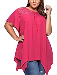 WoldGirls Women's Plus Size Tank Tops Solid Lace O-Neck Short Sleeve T-Shirts