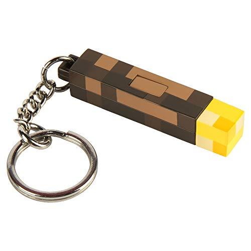 (JINX Minecraft 3D Light-Up Torch Key Chain (2 inches)