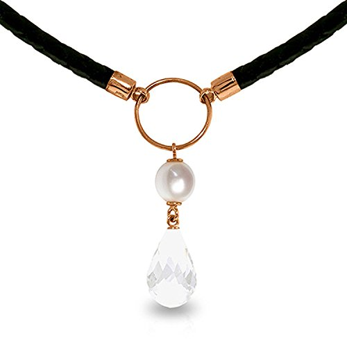 - ALARRI 9 Carat 14K Solid Rose Gold Leather Necklace Pearl White Topaz with 24 Inch Chain Length