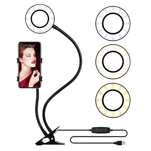 Selfie Ring Light with Cell Phone Holder Stand Live Stream Makeup, OldShark Circle Lights LED Lighting 360 Rotating Flexible Arms YouTube Video Vlogging 3-Light Mode 10-Level Brightness