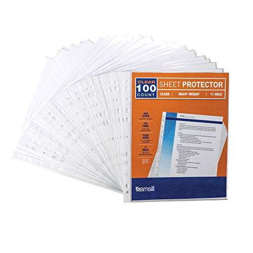 - Samsill Heavyweight 11 Hole Clear Sheet Protectors/Acid Free Archival Safe/Polypropylene Sheet/Top Loading Sheet Protectors 8.5 x 11 inches/Box of 100 Page Protectors Bulk/Clear