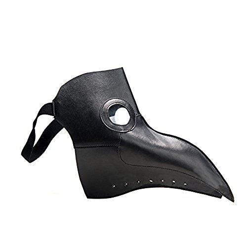 SUNREEK Plague Doctor Mask, Faux Leather Birds Beak Masks Steampunk Halloween Carnival Cosplay Costume Props (Black)