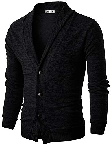 Ohoo Mens Slim Fit shawl Collar Knit Cardigan With Elbow Patch/DCC025-BLACK-S
