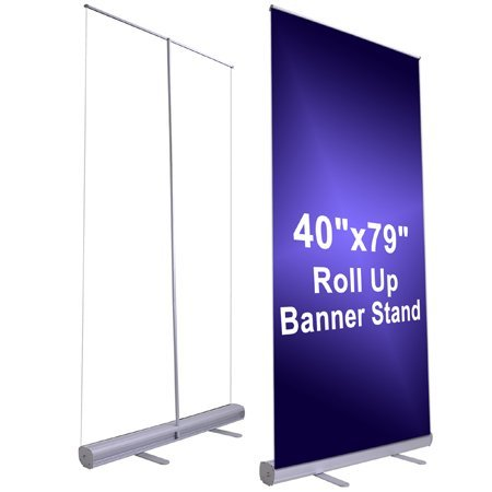 "40"" x 79"" Inches Economy Rollup Retractable Banner Graphic Stand Adjustable Silver Trade Show Signage Display Sign w/ Black Carrying Bag from Generic"