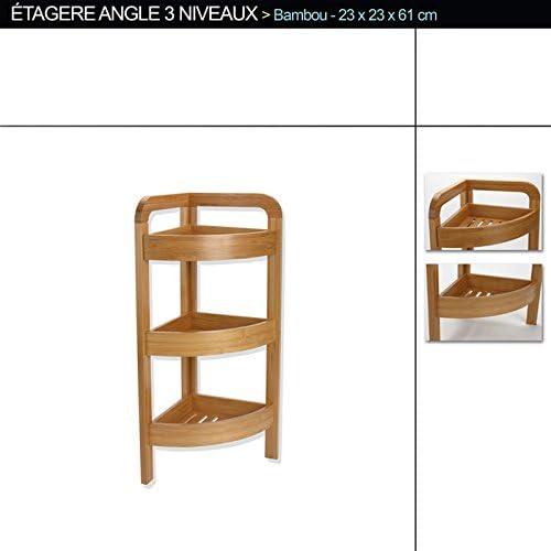 H61 x P23 x L23 cm PEGANE Etag/ère dangle de 3 Niveaux en Bambou PM