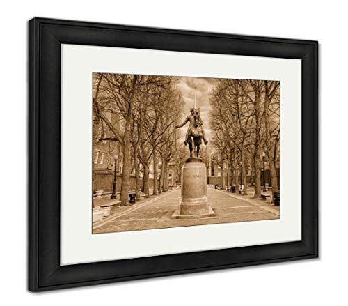 Ashley Framed Prints Boston, Massachusetts, USA at The Paul Revere Monument, Wall Art Home Decoration, Sepia, 34x40 (Frame Size), Black Frame, AG32783957