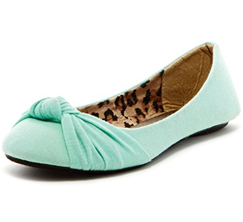 Charles Albert Women's Knotted Front Canvas Round Toe Ballet Flats (11, Seafoam)