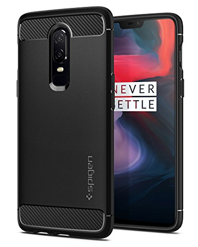 Spigen Rugged Armor OnePlus 6 Case with Flexible and Durable Shock Absorption with Carbon Fiber Design for OnePlus 6 (2018) – Black