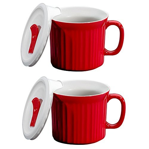 CorningWare Colours Pop-Ins 20oz Soup Mug w/ Lid 2 Pack Tomato Red Deal (Large Image)