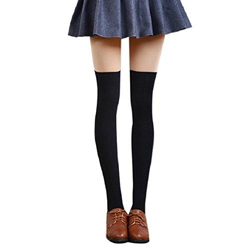 dessus Genou Du Au Bas Chaussettes Femme Cuisse Longues Coton Amison Noir Haute qwHIxRU4T