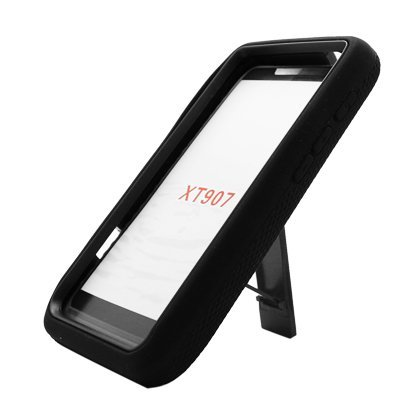 Kobwa(TM) Double Layer Heavy Duty Armor With Kickstand Silicone Hybrid Case for Motorola XT907 -Black With Keyring