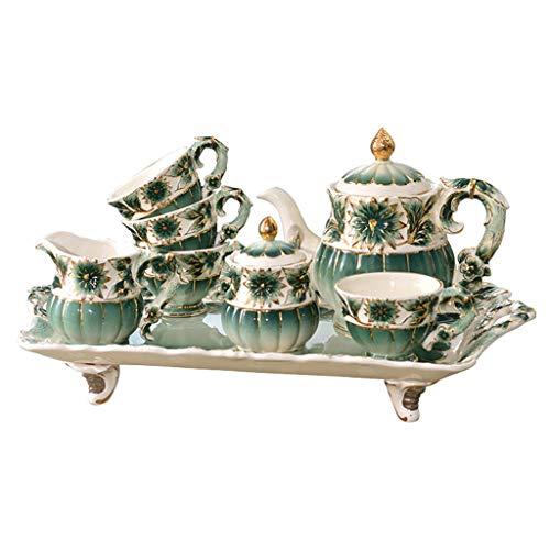 (CSQ Coffee Cup Afternoon Tea Set, Ceramic Coffee Pot Household Eight-Piece Tea Set Scented Tea Teapot Capacity: 1050ml Afternoon Tea (Color : Green))