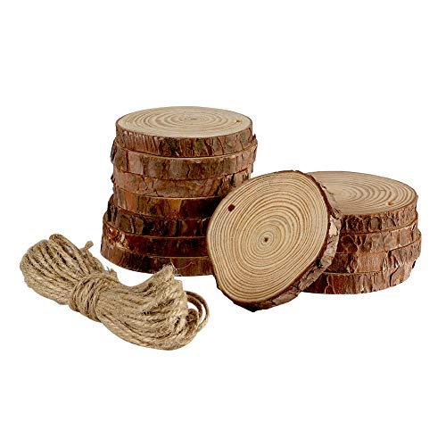 Joy-Leo 12 Pack 3-4 Inch Natural Unfinished Wood Slices[Fumigated/0.4 Inch Thick] with Hole and Jute Twine for Wood Burning & Crafts Project, Wood Cork Coasters for Drinks & Wine Glasses & Coffee Mug ()
