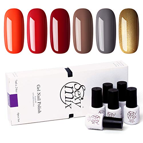 SEXY MIX UV Gel Nail Polish, Fall Colors Gel Polish Tiny Bottles - Popular Autumn Colors Required Base Top Coat Cured Under UV/LED Nail Lamp 0.24 OZ