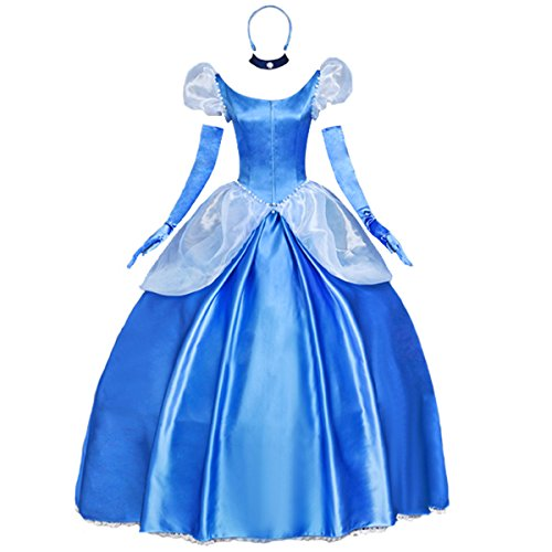 Angelaicos Womens Princess Dress Lolita Layered Party Costume Ball Gown (L, Blue) -