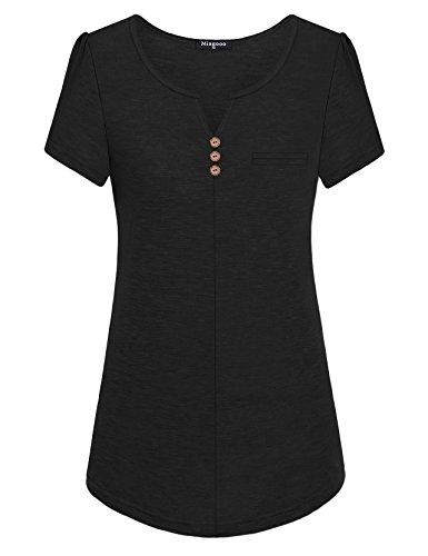 s for Women, Ladies Casual Notch V Neck Short Sleeve Shirring Details On Sleeve Pleats Front and Center Loose Fitting Genuine Moisture Wicking Cotton Blouse Tunics Black M (Short Sleeve Center)