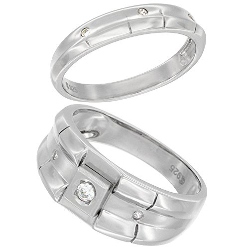 Sterling Silver Cubic Zirconia Wedding Band Ring 2-Piece Set 9 mm Him & Hers 4 mm Ribbed Design, Ladies' size (4mm Ribbed Wedding Band Ring)