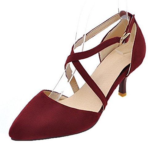 VogueZone009 Women Kitten-Heels Closed-Toe Frosted Solid Buckle Sandals Red