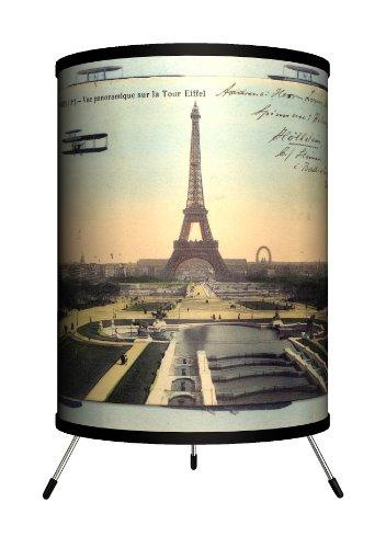 Lamp-In-A-Box TRI-TRV-PARPC Travel - Paris Eiffel Tower Postcard Tripod Lamp by Lamp-In-A-Box