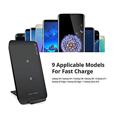 Wireless Charger with 2 Coils 10W from Celeir Wireless Charger for Samsung Galaxy Phones and Standard Charge for iPhone 8 iPhone X and All Other Wireless Charger Supported Phones - Noble