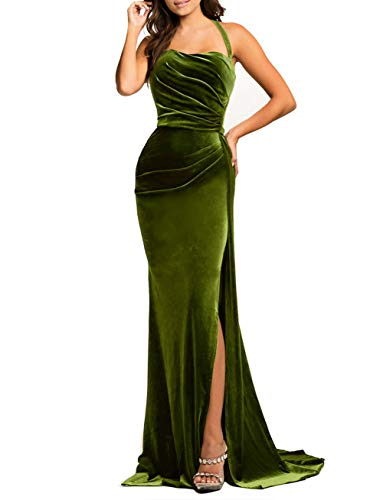 - made2envy Thigh High Split Velvet Evening Gown (XL, Green) LC610993GXL