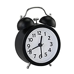 PiLife 3 Mini Non-ticking Vintage Classic Bedside/Table Analog Alarm Clock with Backlight , Battery Operated Travel Clock, Round Twin Bell Loud Alarm Clock(Black)
