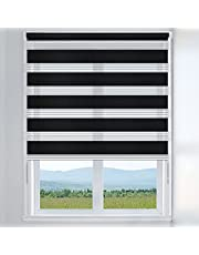 LUCKUP Easy Fix Zebra Roller Blind,Day and Night Blinds Curtains with Install Accessories 150… …