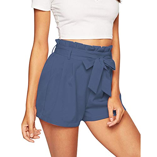 NEWFANGLE Women\'s Casual Paper Bag Shorts Elastic Tie Waist with Pocket Comfy Summer Shorts for Women,Blue-Gray,XL