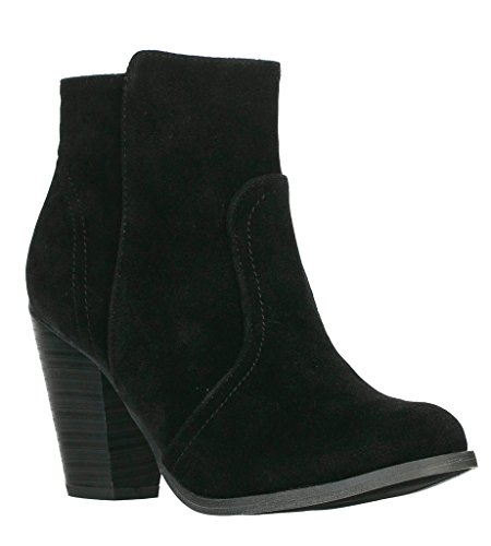Breckelles Damen HEATHER-34 Faux Wildleder Chunky Heel Ankle Booties Schwarz Schwarz