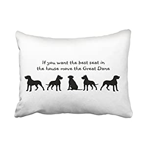 Accrocn Pillowcases Black And White Great Dane Humor Best Seat In House Dog Silhouette Cushion Decorative Pillowcase Polyester 20 x 26 Inch Rectangl ...