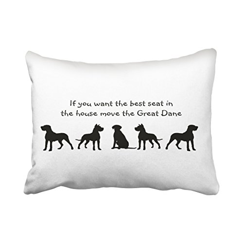 - Accrocn Pillowcases Black And White Great Dane Humor Best Seat In House Dog Silhouette Cushion Decorative Pillowcase Polyester 20 x 26 Inch Rectangl Standard Size Pillow Covers Hidden Zipper