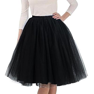 Quesera Women's Layered Tutu A Line Knee Length Elastic Waistband Puffy Tulle Skirt