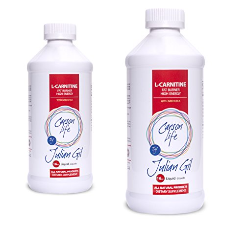 Carson Life L Carnitine Liquid With Green Tea By Julian Gil Fat Burning and Energy Boosting Dietary Supplement 10,000 mg