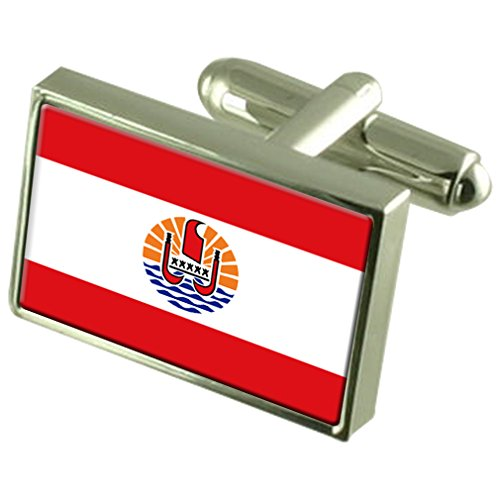 French Polynesia Sterling Silver Flag Cufflinks in Engraved Personalised Box by Select Gifts
