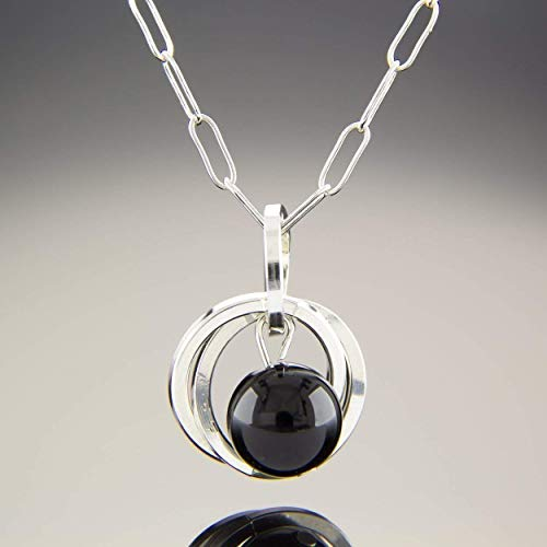 Dainty Real Black Onyx Pendant Necklace with .925 Sterling Silver Circles Minimal Jewelry Gift Idea for Women - 20