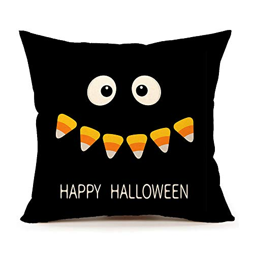 4TH Emotion Happy Halloween Throw Pillow Cover Fall Cushion Case for Sofa Couch 18 x 18 Inch Cotton Linen (Black)