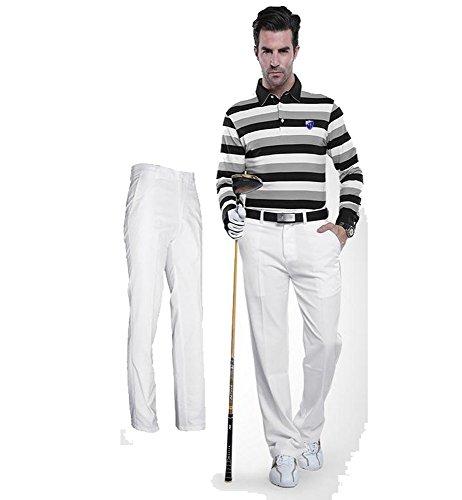 Kayiyasu ロングパンツ メンズ ゴルフウェア 防水 UVカット 男性用 撥水 長ズボン 021-xsty-kuz005(L ホワイト)