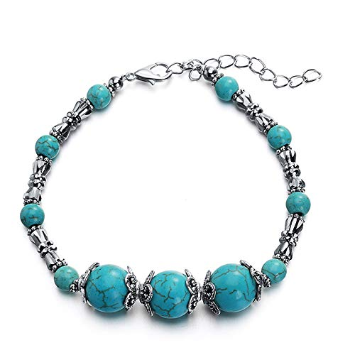 2 Pack Tibetan Silver Vintage Turquoise Beads Bracelet Lobster Clasp Chain
