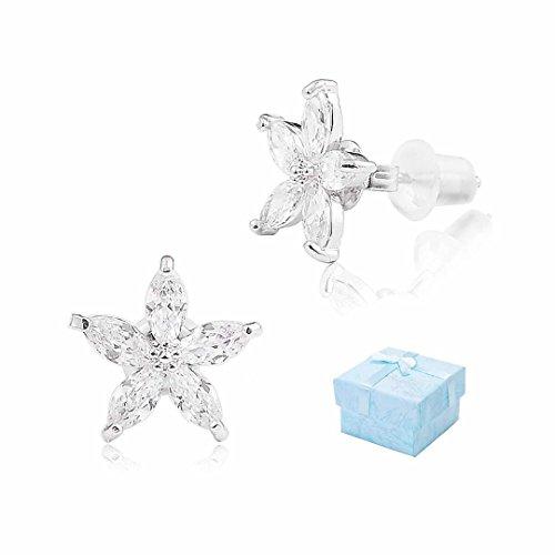 Buyless Fashion Girls Flower Shape Stud Earrings Zirconia Push Backs In Gift Box - ()