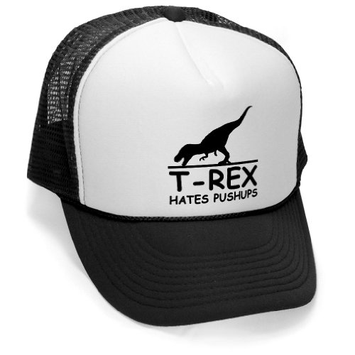 T-REX PUSHUPS - funny joke party gag Mesh Trucker Cap Hat, Black (Funny Caps)
