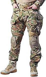 IDOGEAR G3 Combat Pants Multicam Men Pants with Knee Pads Airsoft Hunting Military Paintball Tactical Camo Tro