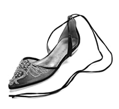 Seraph 5047a 7 Women S Bridal Flats Pointed Toe Lace Up Ballet