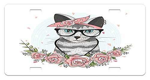 Kitten License Plate by Ambesonne, Hipster Cool Cat with Spectacles Scarf Necklace Earrings and Flowers Little Hearts, High Gloss Aluminum Novelty Plate, 5.88 L X 11.88 W Inches, - Spectacles Cat